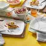 Corelle Vitrelle Simple Lines Square Dinnerware  Service for 6 18-Piece