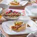 Corelle Vitrelle Simple Lines Square Lunch Plates 22cm 6-Piece